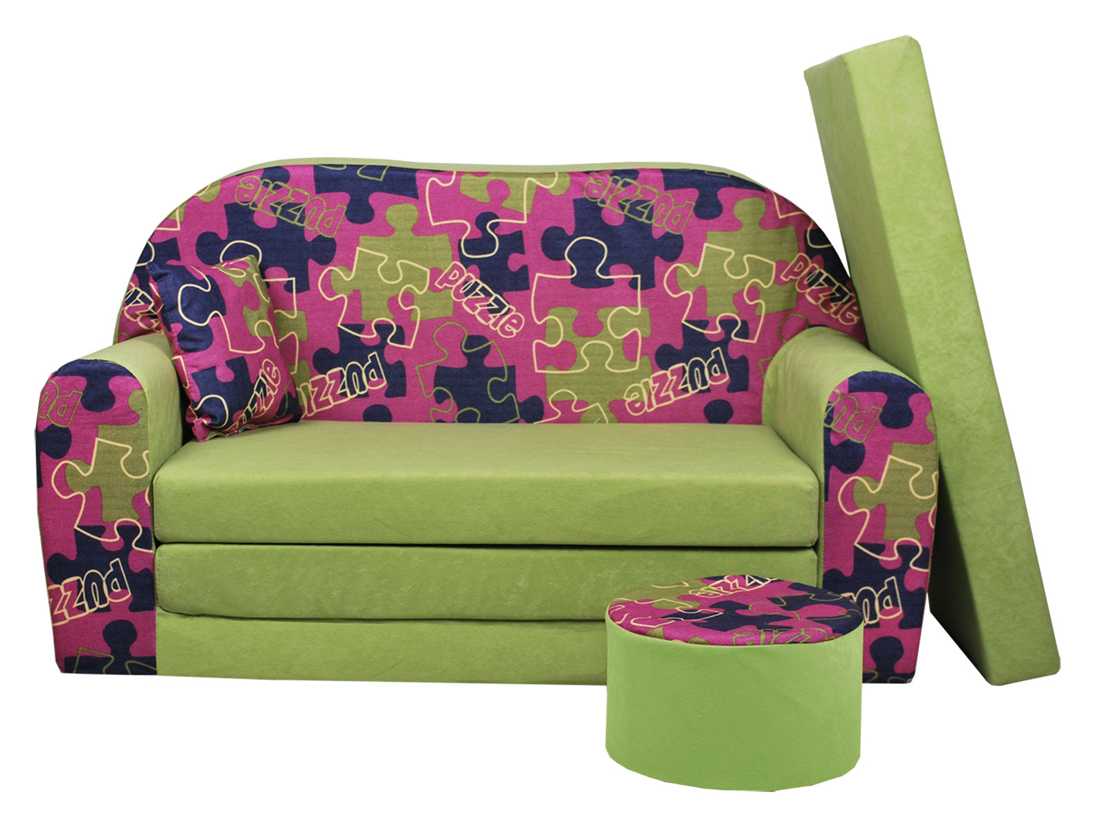 kindersofa sofa kinderzimmersofa zum aufklappen mit bettfunktion gro hocker ebay. Black Bedroom Furniture Sets. Home Design Ideas